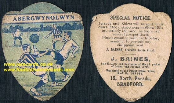1910 Abergwynolwyn F.C. Wales football card by Baines